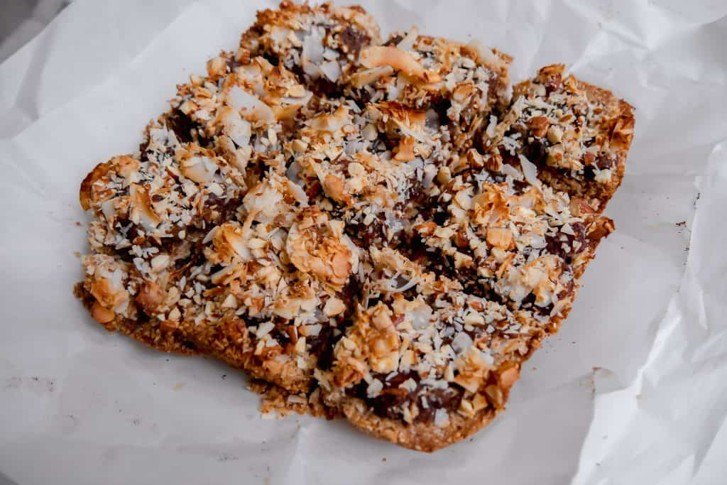 Coconut Almond Date Bars sliced