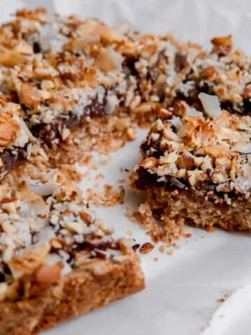 Coconut Almond Date Bars cut in pieces