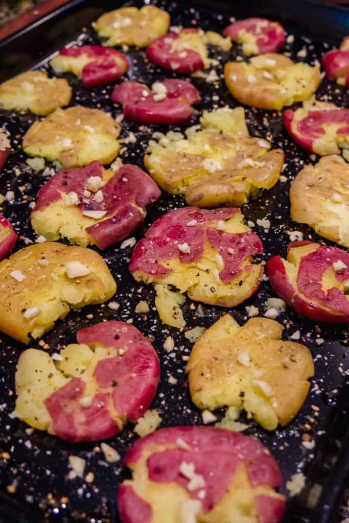 Pre-Oven smashed potatoes with garlic