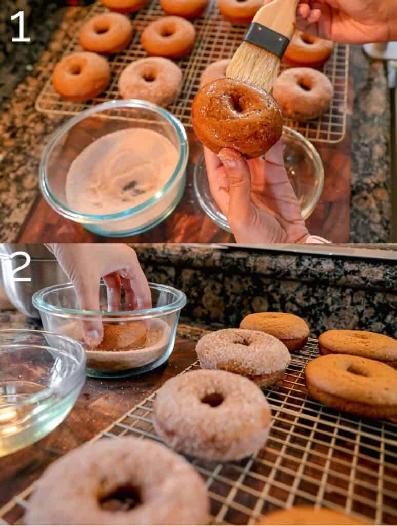 brushing donut with oil and dipping in cinnamon sugar