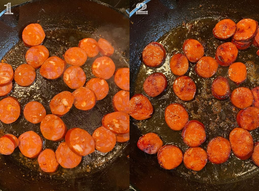 photo of sliced chorizo sausage in a cast iron skillet