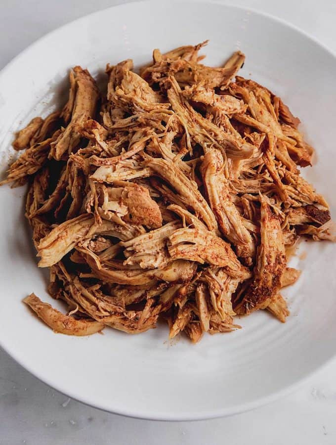 Slow Cooker Shredded Chicken on plate