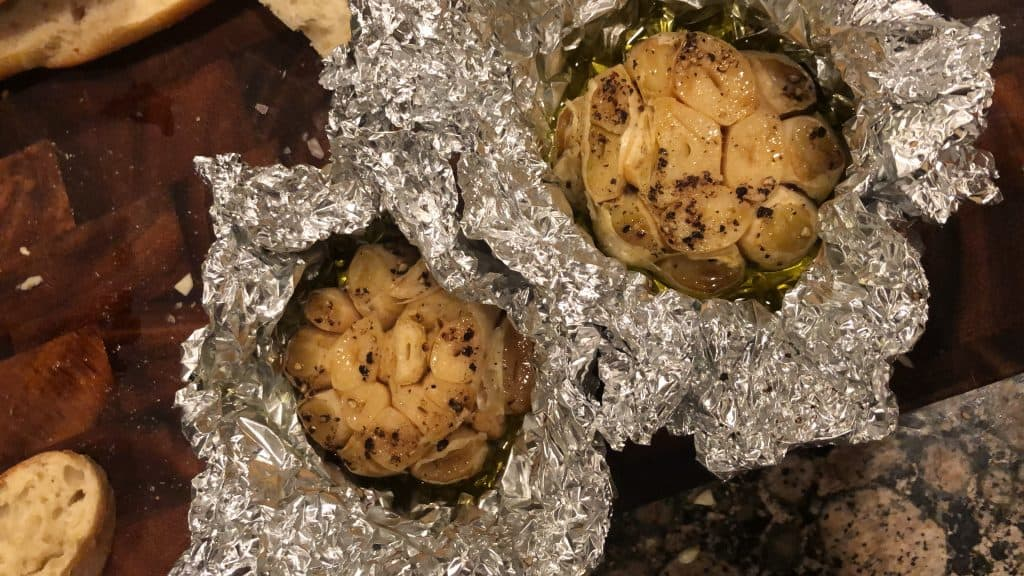 roasted garlic with olve oil in foil