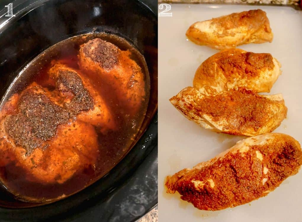 side by side photo of chicken breasts in slow cooker and chicken breasts on cutting board