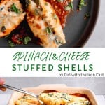 stuffed shells with 3 cheeses spinach in red sauce topped with fresh basil
