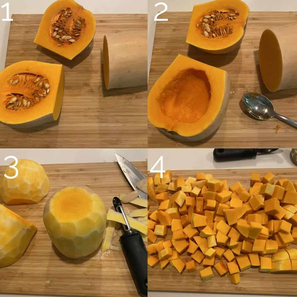 four step photo cutting and peeling a butternut squash