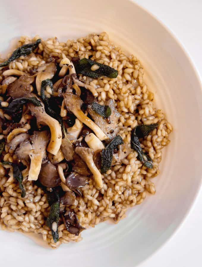 Mushroom Risotto with Brown butter sage on plate
