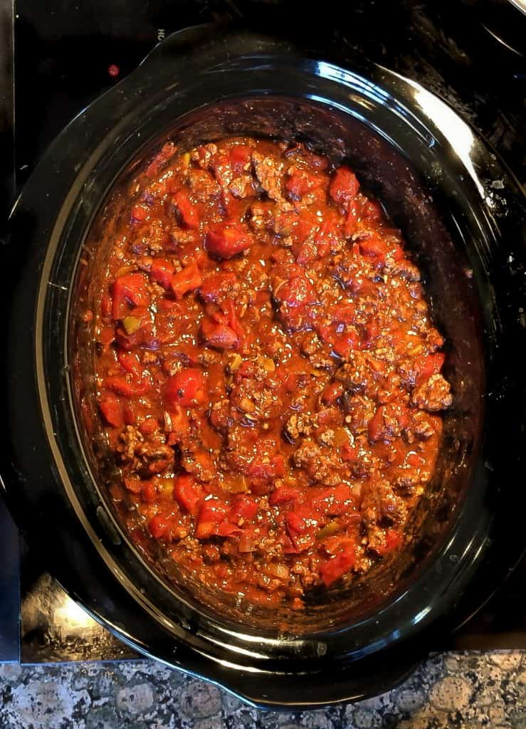 Slow cooker chili recipe in the crockpot overhead shot