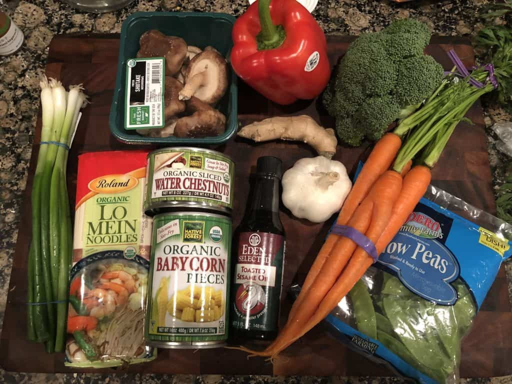 photo of all the ingredients used in vegetable lo mein