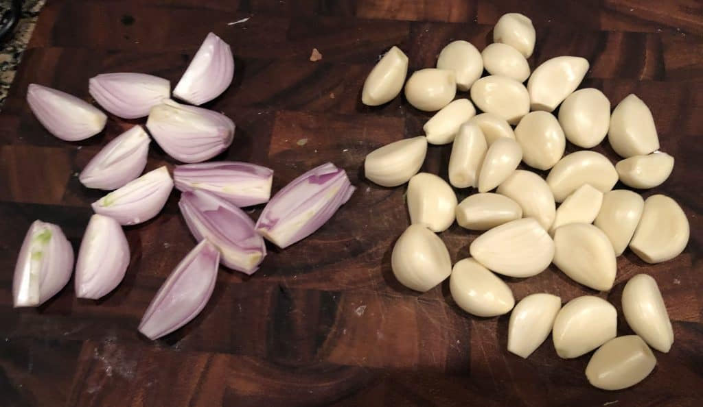 peeled garlic and shallots
