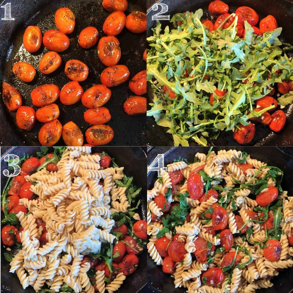 step by step photos of blistered tomatoes, arugula, and pasta being mixed in a cast iron