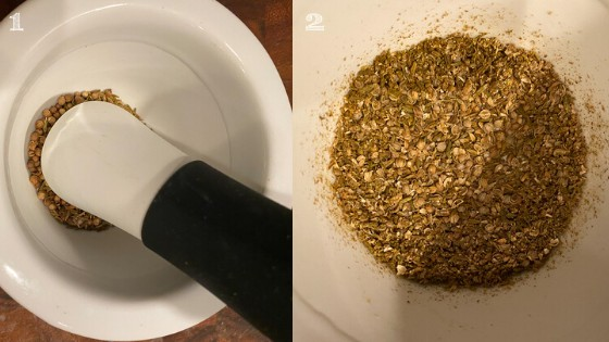 two photos one with seeds in a mortar and pestle and the other grinded seeds