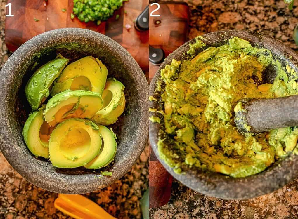 mashing avocado in a molcajete