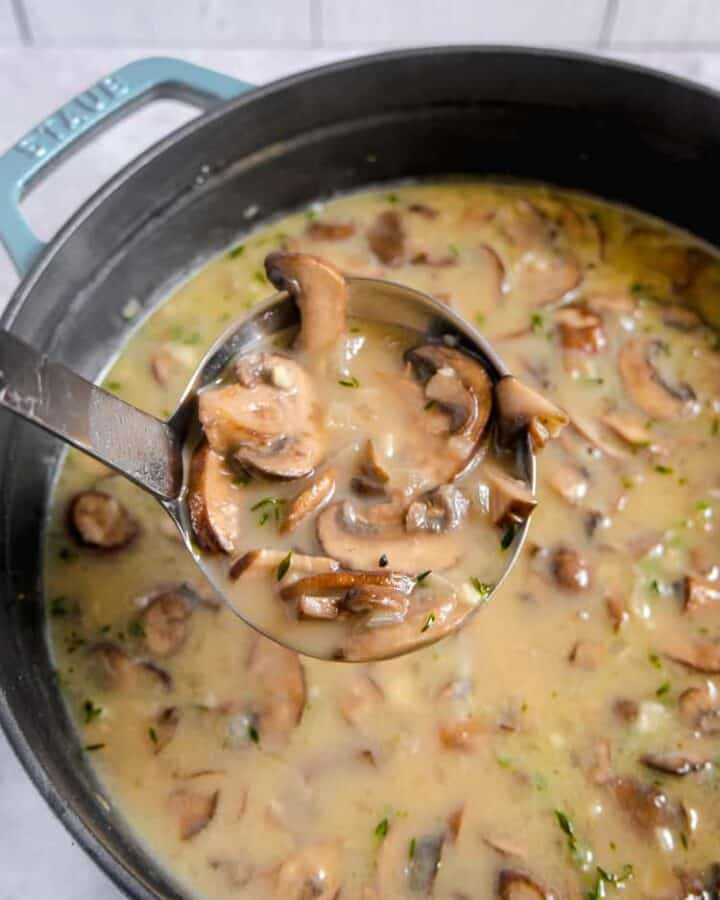 soup pot filled with mushroom soup and herbs with a ladle lifting soup out of pot