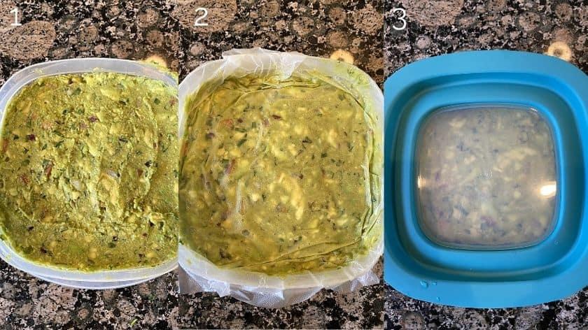 guacamole in tupperware