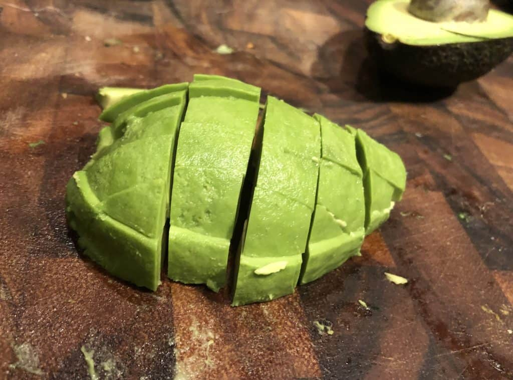 a pealed and diced avocado side shot