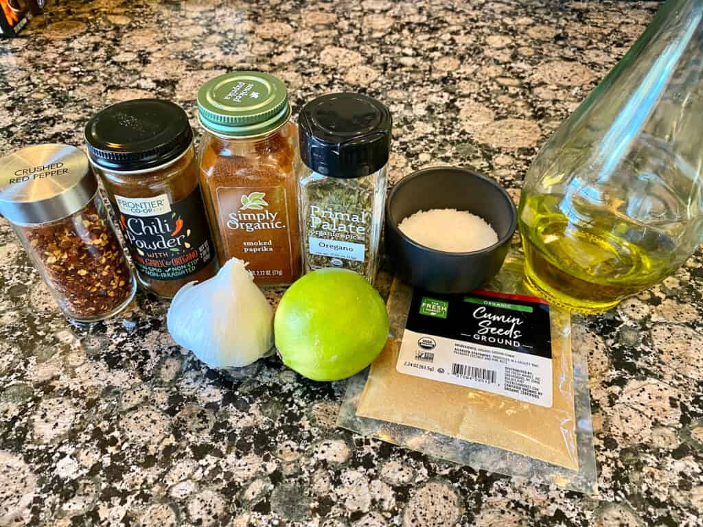 shrimp taco marinade ingredients on counter