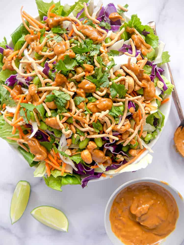 Asian Salad with Spicy Peanut Dressing - Girl With The Iron Cast