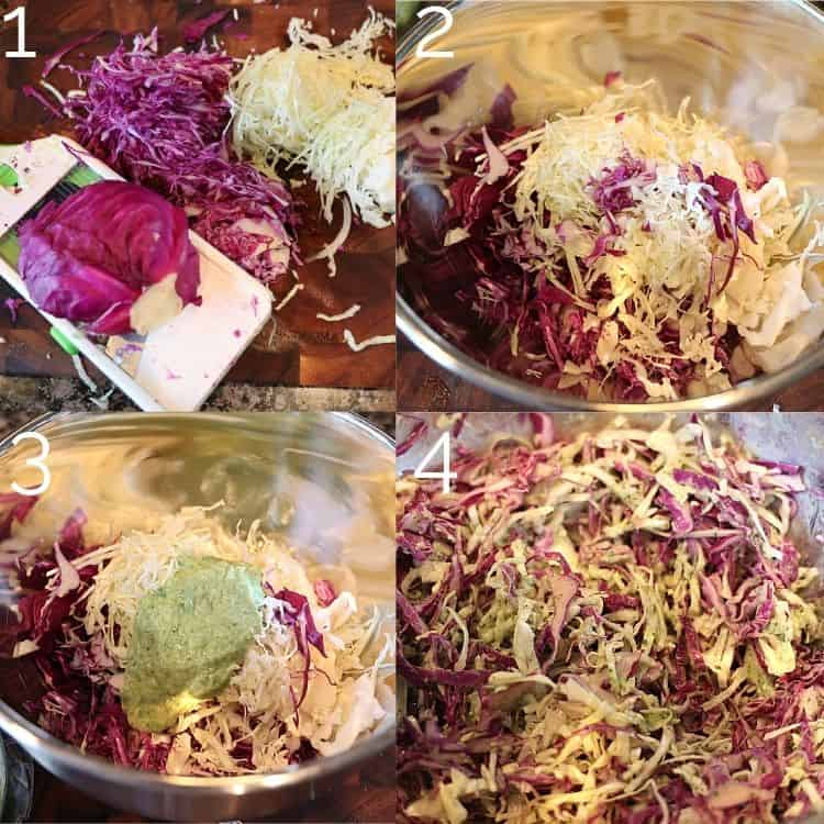 purple and green cabbage being shredded and tossed in avocado crema