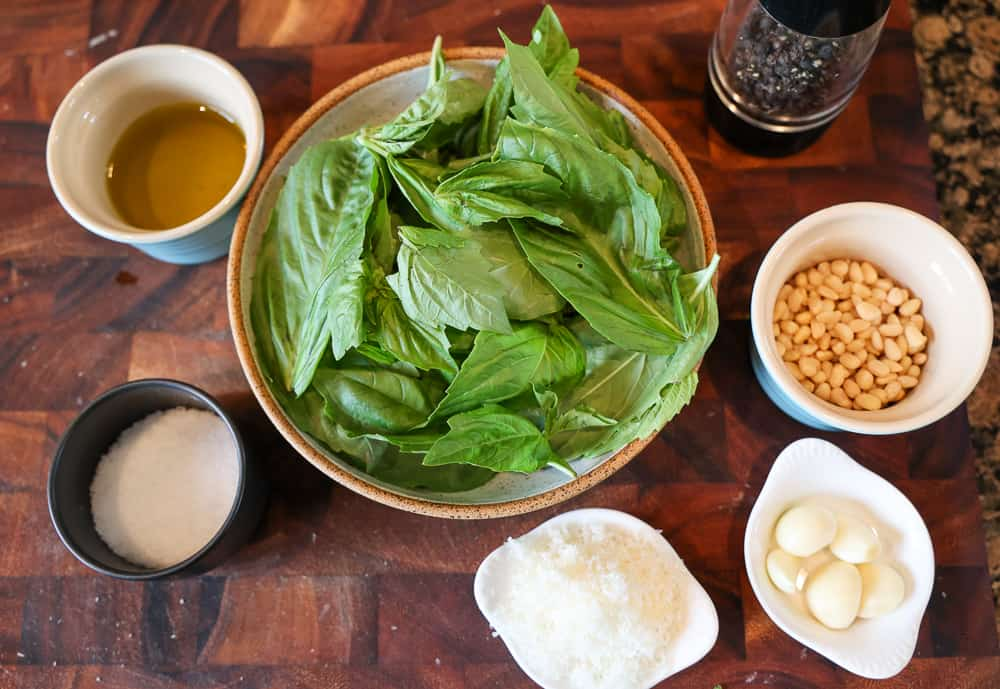 basil leaves, parmesan, olive oil, garlic and pine nuts