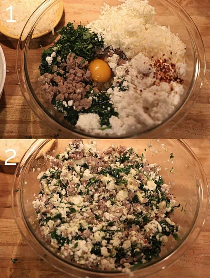mixing three cheeses, hot italian sausage, egg, basil, spinach in a glass bowl