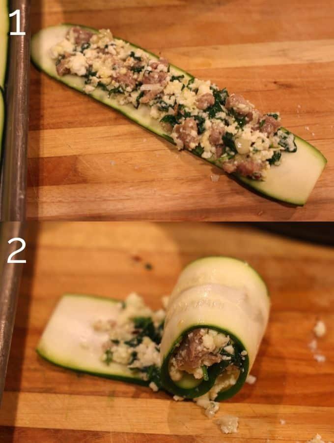rolling stuffing in zucchini ribbon