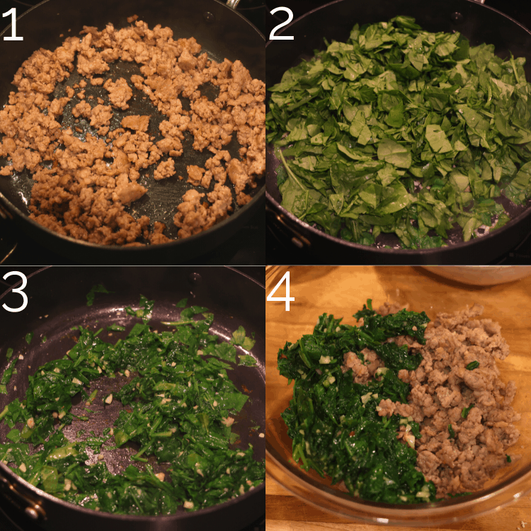 sausage and spinach in a skillet