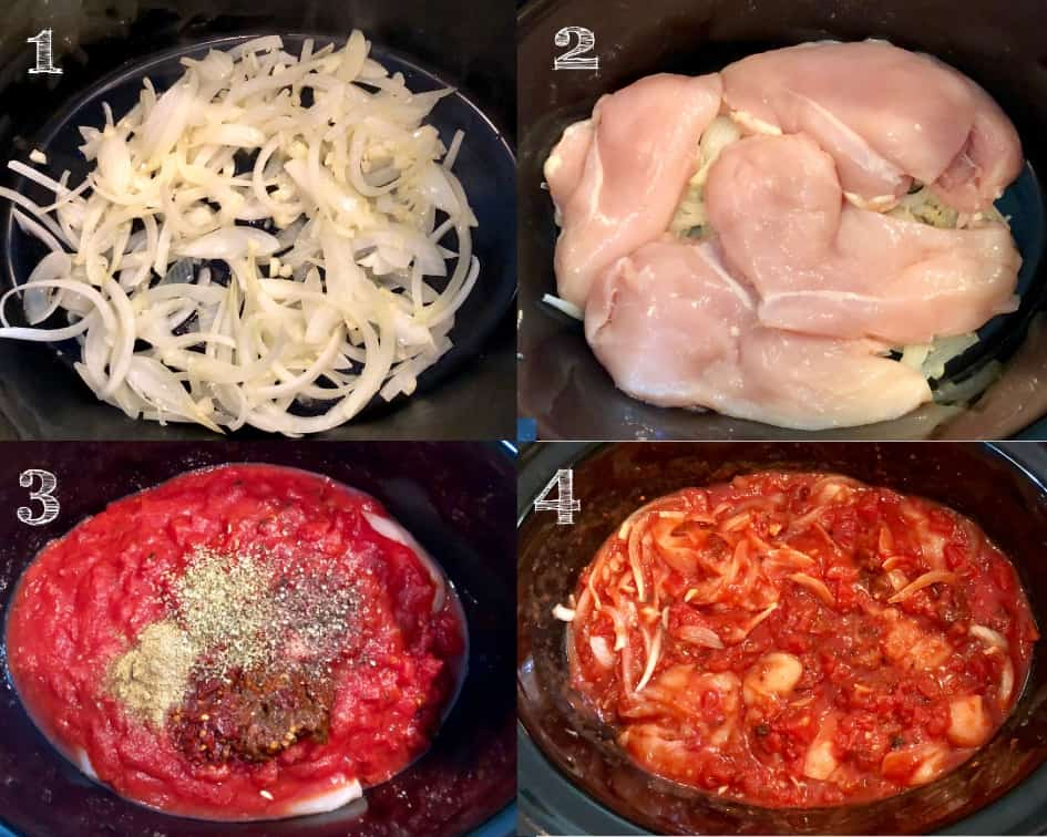 series of photos in a crockpot of onions, chicken, tomatoes, herbs and spices