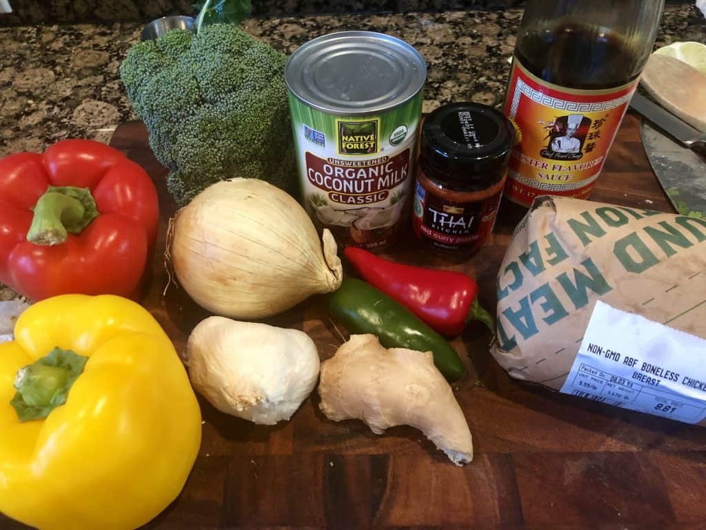 red curry ingredients on a cutting board