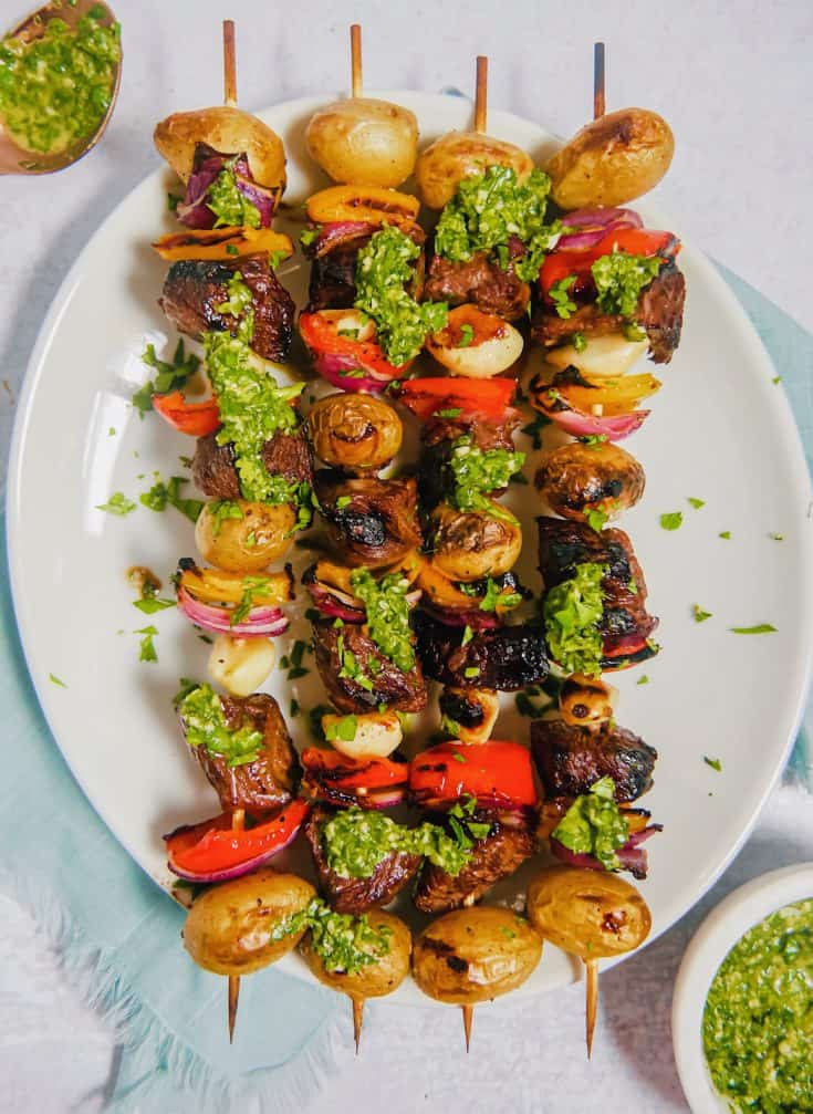 Steak Skewers With Chimichurri Sauce
