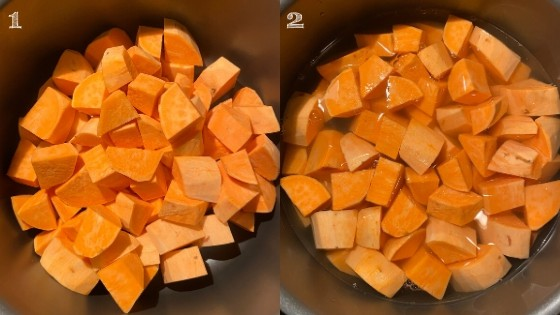 diced sweet potatoes in a pot with water added