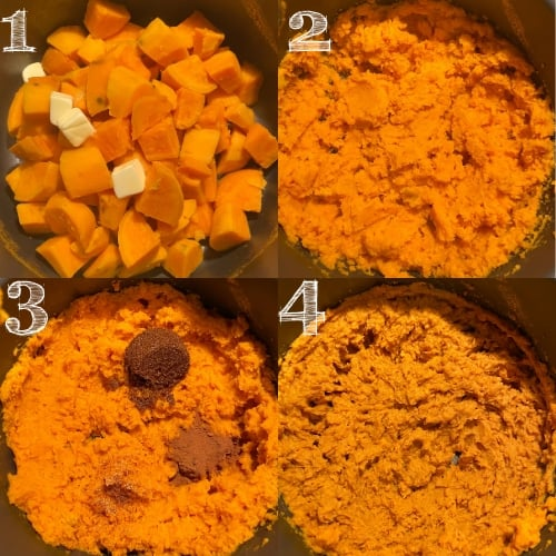 four photos of the steps to mashing potatoes