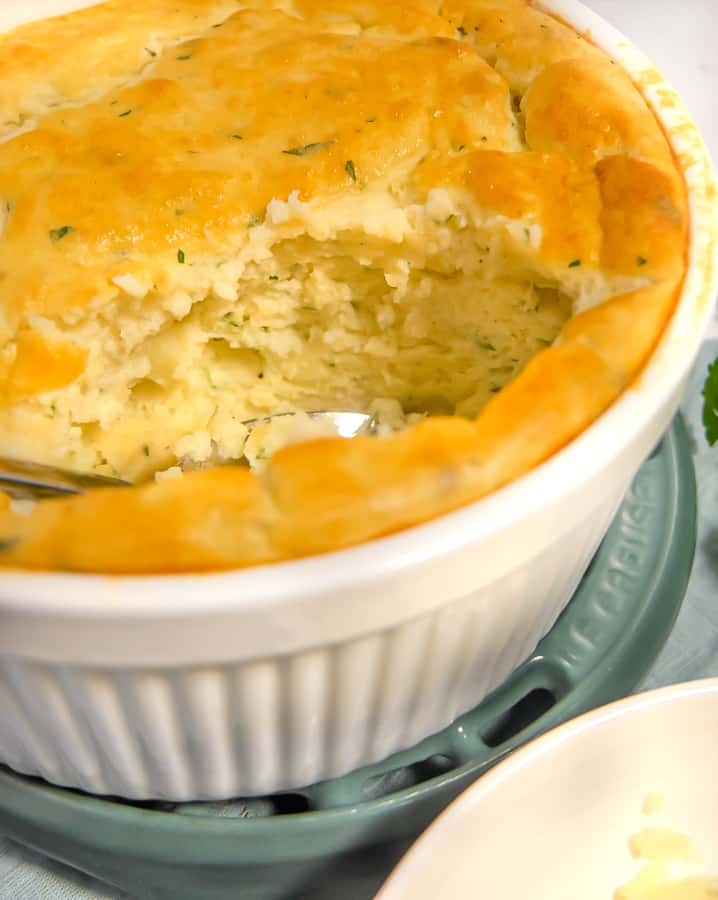 close up of the inside of the potato souffle