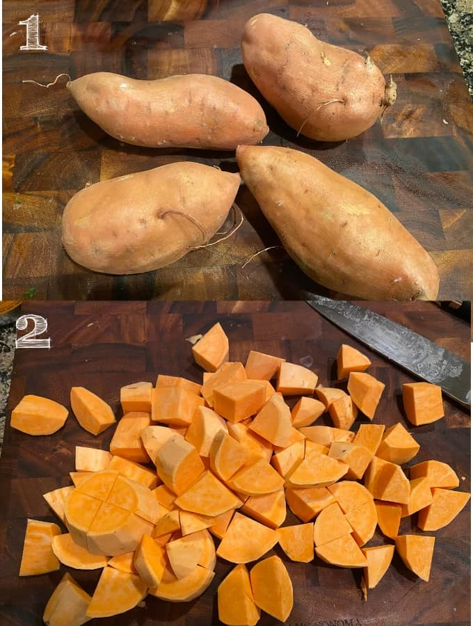 overhead shot of full sweet potatoes then diced sweet potatoes on a cutting board