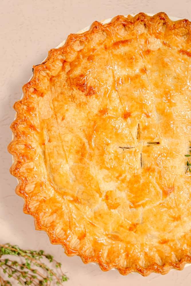 Close up of a chicken pot pie crust