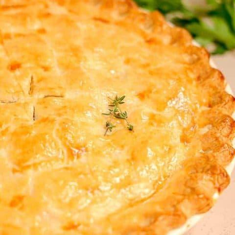 close up of baked chicken pot pie crust
