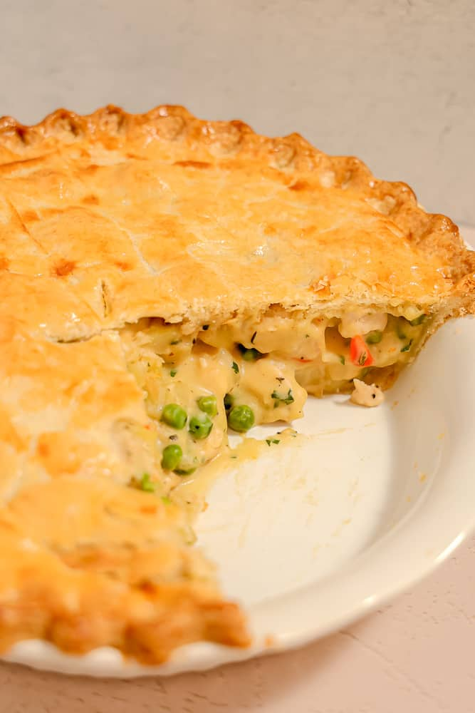 chicken pot pie with slices cut out