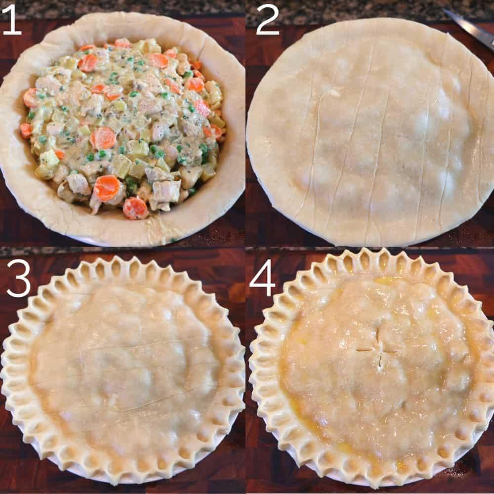 4 step laying pie crust on pot pie