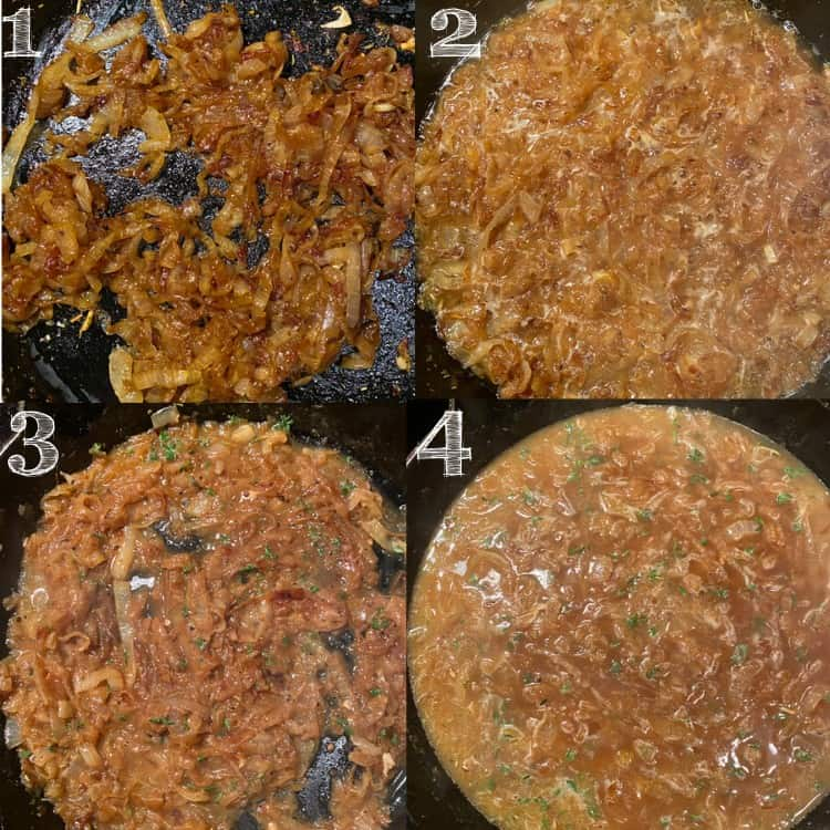 4 steps of french onion sauce being made in a skillet