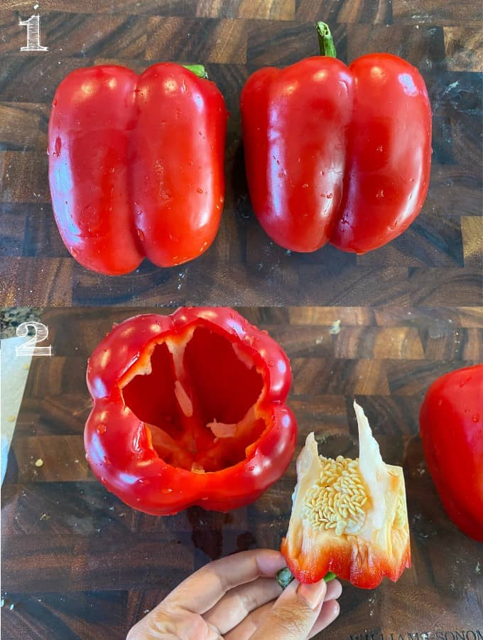 two bell peppers on a cutting board