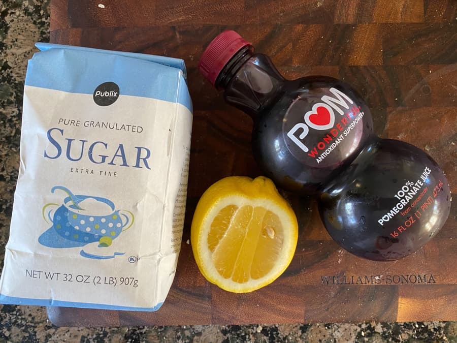 sugar, lemon, and pomegranate juice