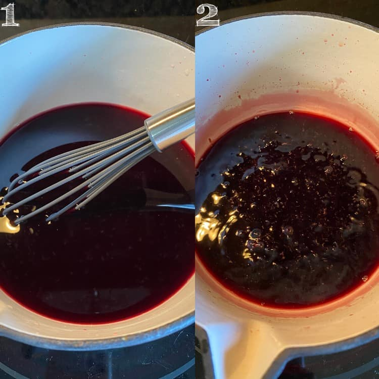 two pictures of making pomegranate molasses