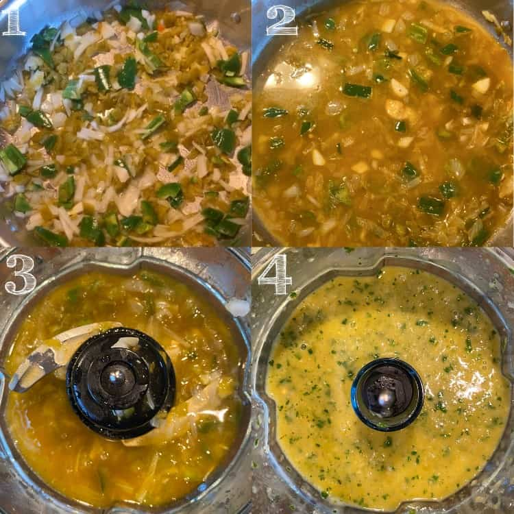 four photos of the steps of making salsa verde