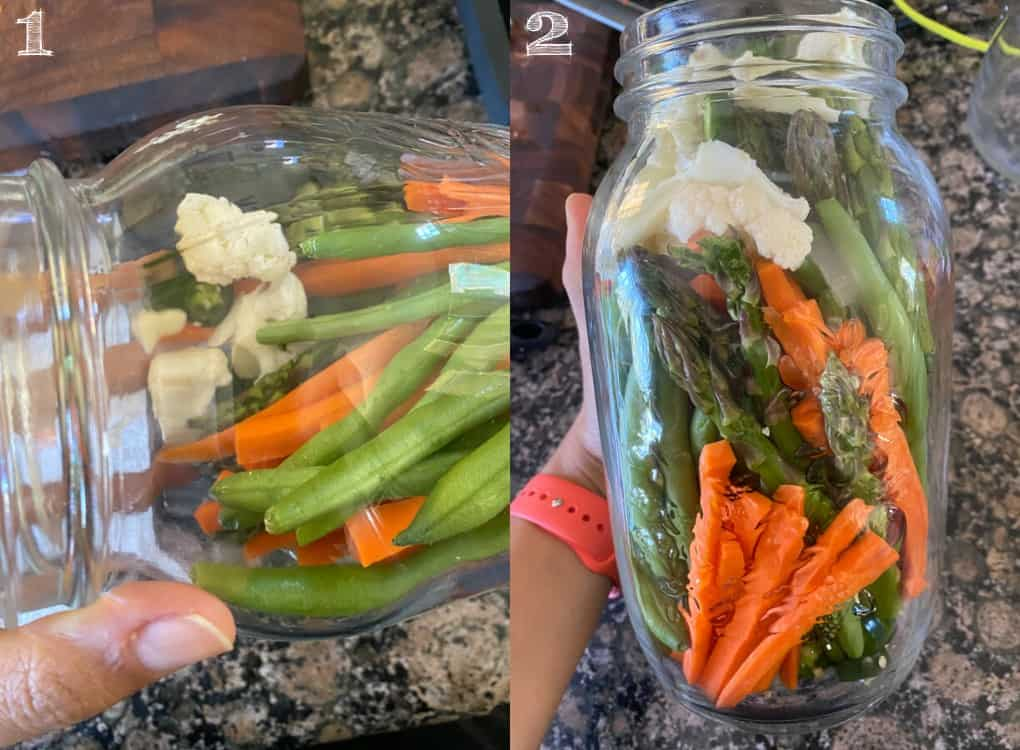 photo of vegetables being put in a mason jar