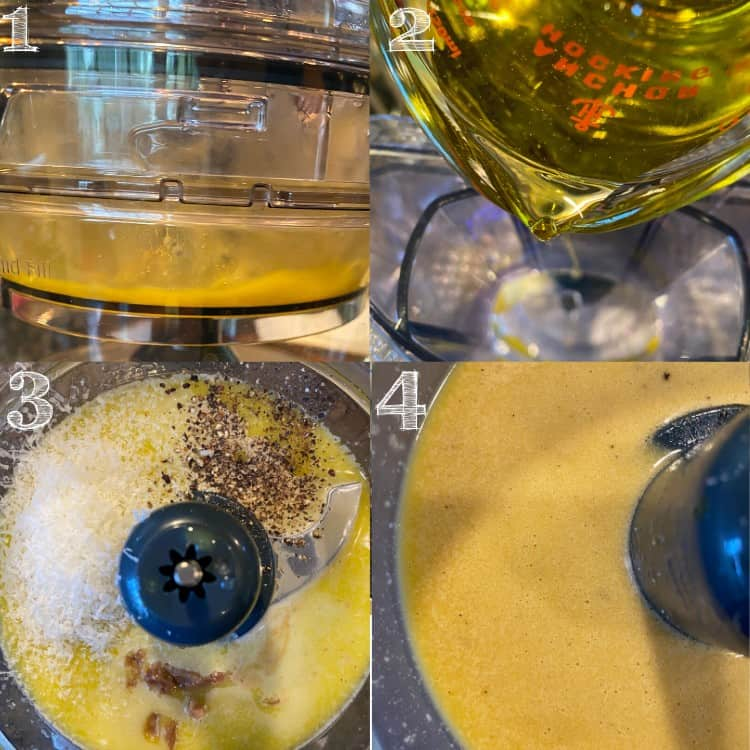 4 step photos making caesar dressing in a food processor