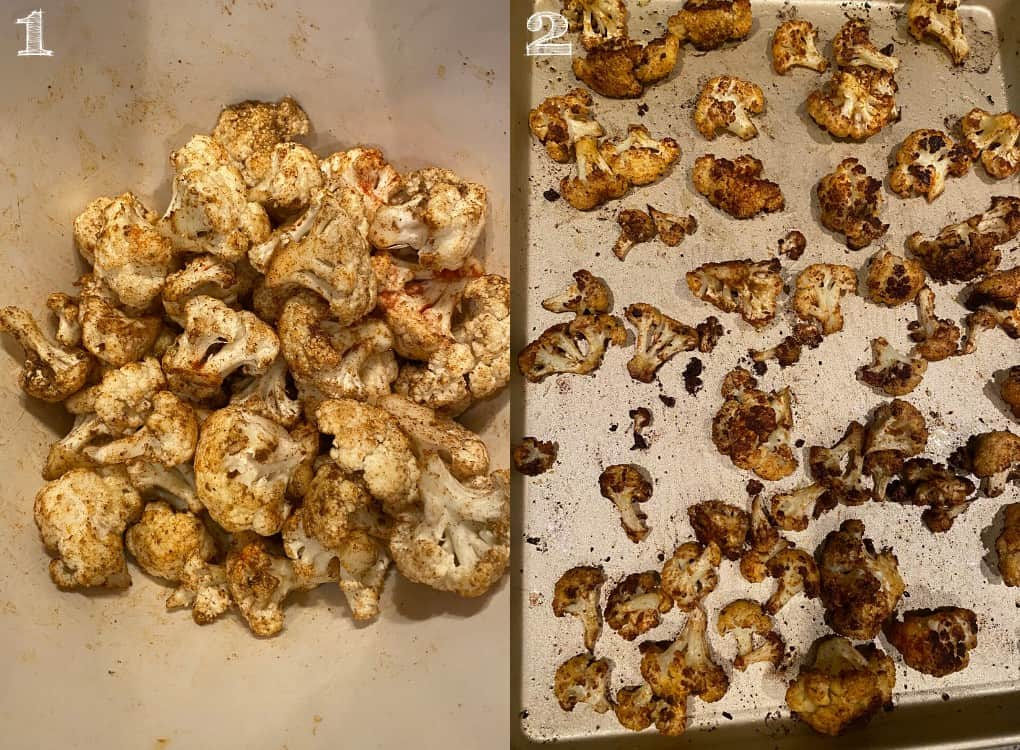 two photos of seasoned cauliflower florets