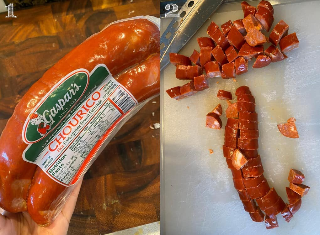 photo of chorizo in packaging and diced