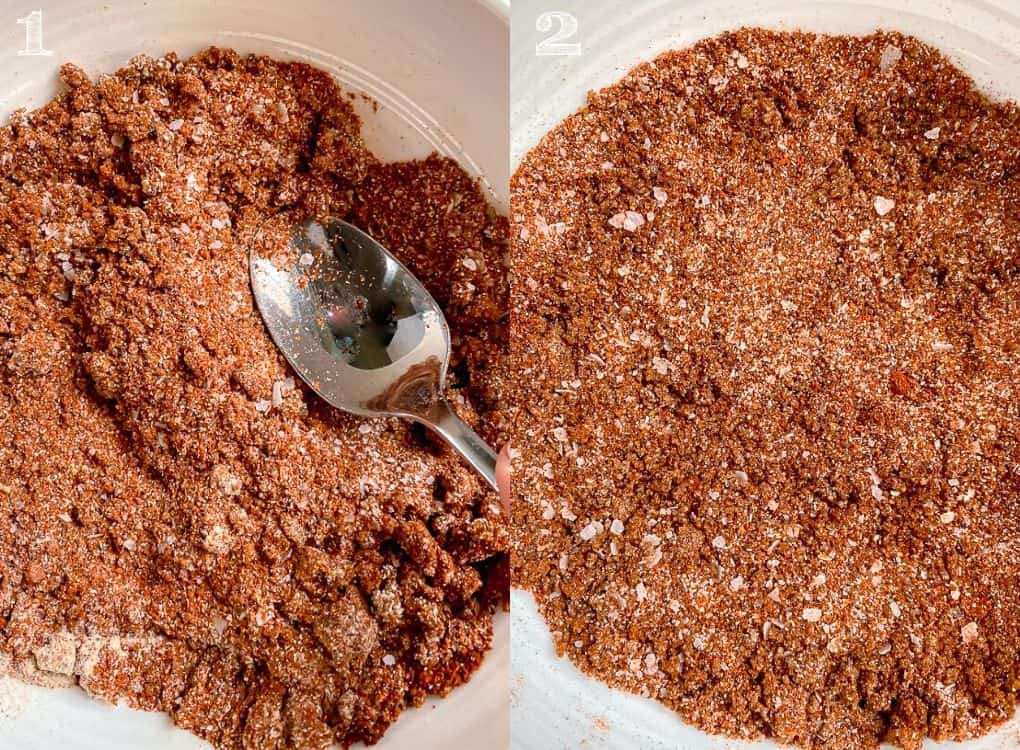 side by side photo of dry rub spices being mixed together in a white bowl