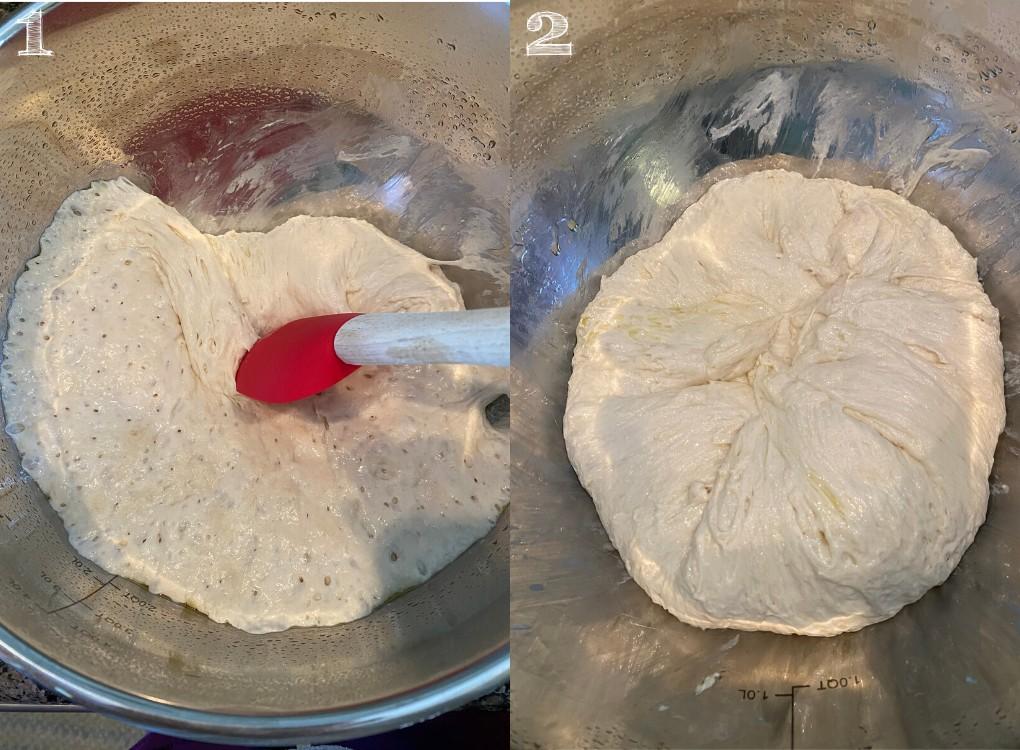 side by side photo folding bread dough in bowl