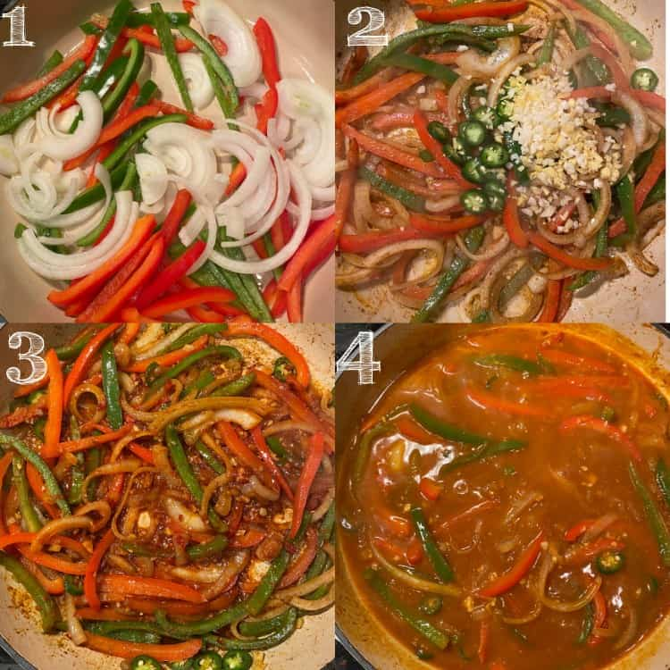 four step photo of creating gobi manchurian sauce in skillet
